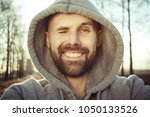 cheerful man with  smile  ... | Shutterstock . vector #1050133526