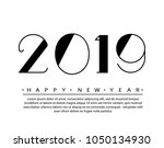 2019 happy new year text design ... | Shutterstock .eps vector #1050134930