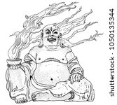 fantasy stone budai  hotei or... | Shutterstock .eps vector #1050135344