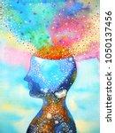 human head  chakra power ...   Shutterstock . vector #1050137456