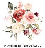 watercolor flowers. floral... | Shutterstock . vector #1050141830