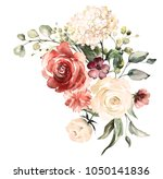 watercolor flowers. floral... | Shutterstock . vector #1050141836
