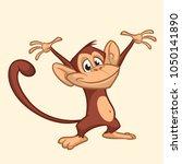 cute monkey cartoon icon.... | Shutterstock . vector #1050141890