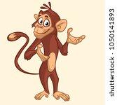 cartoon funny chimpanzee monkey ... | Shutterstock . vector #1050141893