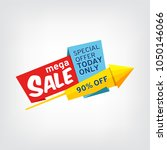 colorful banner for mega sale | Shutterstock . vector #1050146066