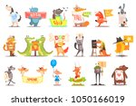 set of wild animals and... | Shutterstock .eps vector #1050166019