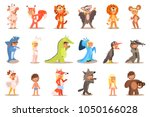 Flat Vector Set Of Kids In...