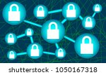 network lock security system... | Shutterstock .eps vector #1050167318