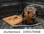 calabash and bombilla for yerba ... | Shutterstock . vector #1050170408