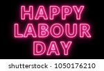 happy labour day text  3d... | Shutterstock . vector #1050176210