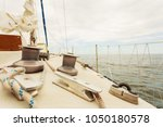 yacht capstan with rope on... | Shutterstock . vector #1050180578