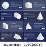 sphere cube cylinder cone... | Shutterstock .eps vector #1050180764