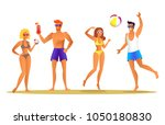 adults by seaside relaxation ... | Shutterstock .eps vector #1050180830