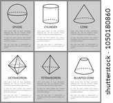 sphere cylinder cone octahedron ... | Shutterstock .eps vector #1050180860