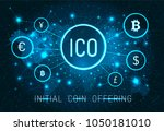initial ico coin offering promo ... | Shutterstock .eps vector #1050181010