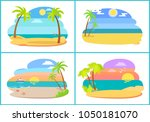 seaside and beach collection of ... | Shutterstock .eps vector #1050181070