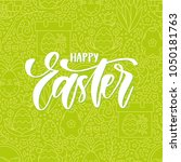 vector happy easter greeting... | Shutterstock .eps vector #1050181763