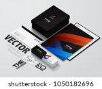 isometric stationery mockup... | Shutterstock .eps vector #1050182696