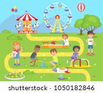 children spend spare time at... | Shutterstock .eps vector #1050182846