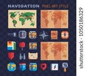 navigation pixel art 80s style... | Shutterstock .eps vector #1050186329