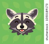 racoon emotional head. vector... | Shutterstock .eps vector #1050189173