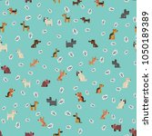seamless background with dogs... | Shutterstock .eps vector #1050189389