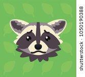 racoon emotional head. vector... | Shutterstock .eps vector #1050190388