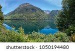 panoramic view of lake gunn on... | Shutterstock . vector #1050194480