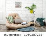 modern stylish room interior... | Shutterstock . vector #1050207236
