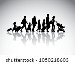 people family travel silhouette ... | Shutterstock .eps vector #1050218603