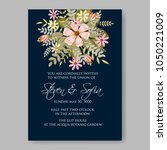 floral wedding invitation... | Shutterstock .eps vector #1050221009