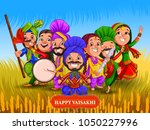 happy vaisakhi new year... | Shutterstock .eps vector #1050227996