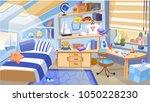 cartoon kid bedroom with boy... | Shutterstock .eps vector #1050228230