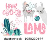 editable set with a cute lama | Shutterstock .eps vector #1050230699