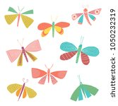 set of colorful butterflies  | Shutterstock .eps vector #1050232319