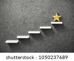 big yellow star on stair ... | Shutterstock . vector #1050237689