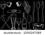 drinks and food. hand drawn... | Shutterstock . vector #1050247589