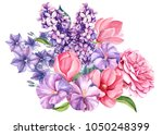 bouquet purple and pink flowers ... | Shutterstock . vector #1050248399