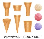 realistic cones scoops and... | Shutterstock .eps vector #1050251363