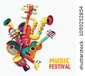 colorful music background.... | Shutterstock .eps vector #1050252854