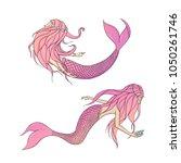 set of pink vector mermaids.... | Shutterstock .eps vector #1050261746