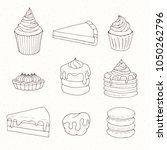 hand drawn vector pastry set... | Shutterstock .eps vector #1050262796