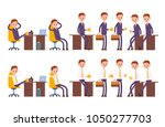 sits on the chair  arm behind... | Shutterstock .eps vector #1050277703