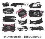 set of black paint  ink brush... | Shutterstock .eps vector #1050280973