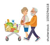 happy old people shopping.... | Shutterstock .eps vector #1050296618