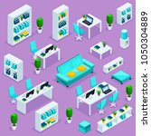 isometric set of office... | Shutterstock .eps vector #1050304889