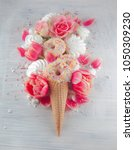 flat lay waffle sweet ice cream ... | Shutterstock . vector #1050309230