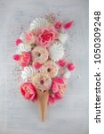 flat lay waffle sweet ice cream ... | Shutterstock . vector #1050309248