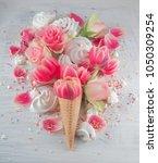 flat lay waffle sweet ice cream ... | Shutterstock . vector #1050309254