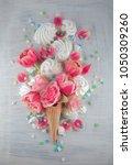 flat lay waffle sweet ice cream ... | Shutterstock . vector #1050309260